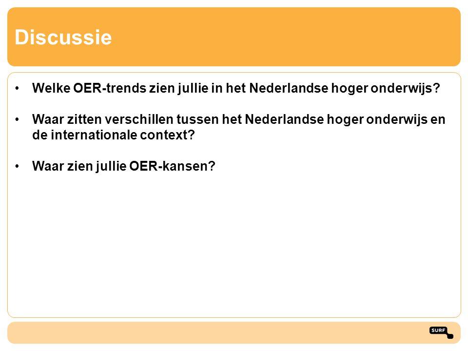 Discussie •Welke OER-trends zien jullie in het Nederlandse hoger onderwijs? •Waar zitten verschillen tussen het Nederlandse hoger onderwijs en de inte