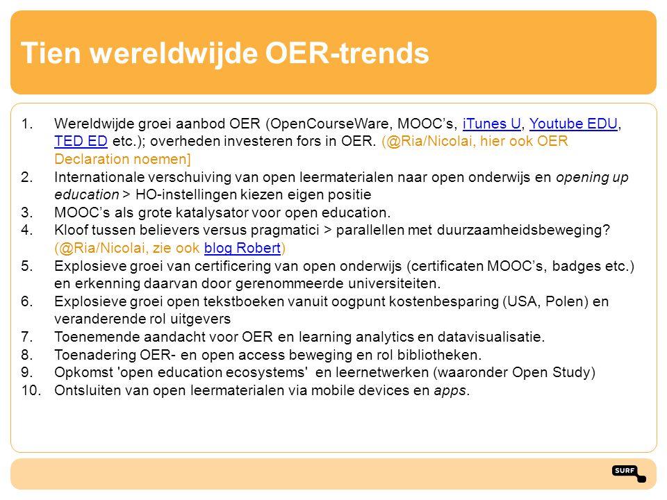 Tien wereldwijde OER-trends 1.Wereldwijde groei aanbod OER (OpenCourseWare, MOOC's, iTunes U, Youtube EDU, TED ED etc.); overheden investeren fors in