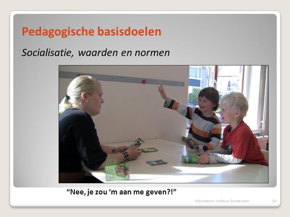 Presentatie, 1 oktober 2012 Marianne Boogaard, Maartje van Daalen Pedagogische basisdoelen Socialisatie, waarden en normen 10Kohnstamm Instituut Amste