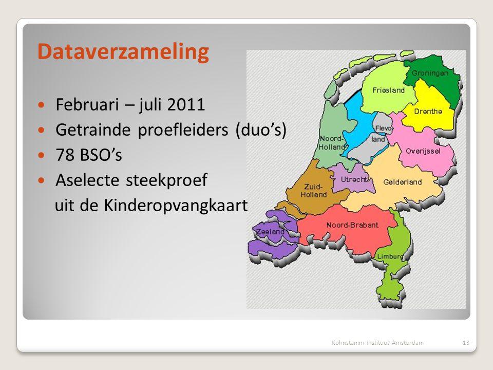Dataverzameling  Februari – juli 2011  Getrainde proefleiders (duo's)  78 BSO's  Aselecte steekproef uit de Kinderopvangkaart 13Kohnstamm Instituu