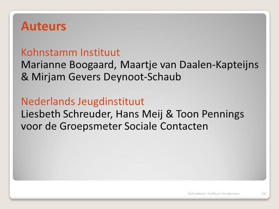 Auteurs Kohnstamm Instituut Marianne Boogaard, Maartje van Daalen-Kapteijns & Mirjam Gevers Deynoot-Schaub Nederlands Jeugdinstituut Liesbeth Schreude