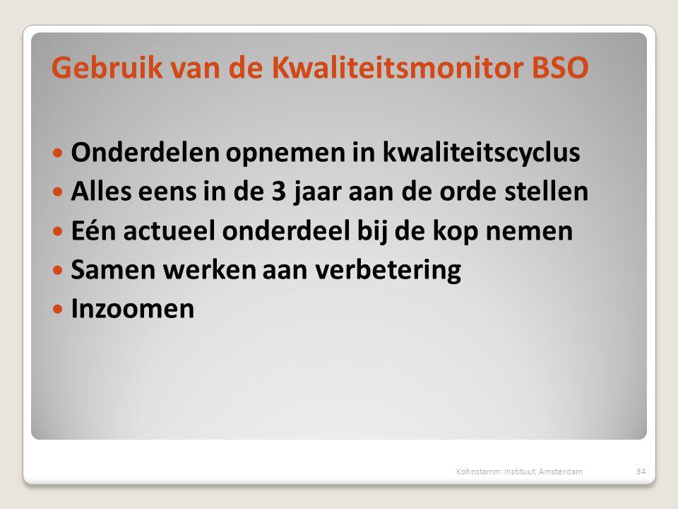 Gebruik van de Kwaliteitsmonitor BSO  Onderdelen opnemen in kwaliteitscyclus  Alles eens in de 3 jaar aan de orde stellen  Eén actueel onderdeel bi
