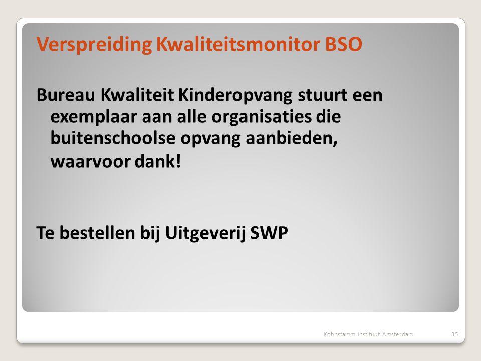 Verspreiding Kwaliteitsmonitor BSO Bureau Kwaliteit Kinderopvang stuurt een exemplaar aan alle organisaties die buitenschoolse opvang aanbieden, waarv
