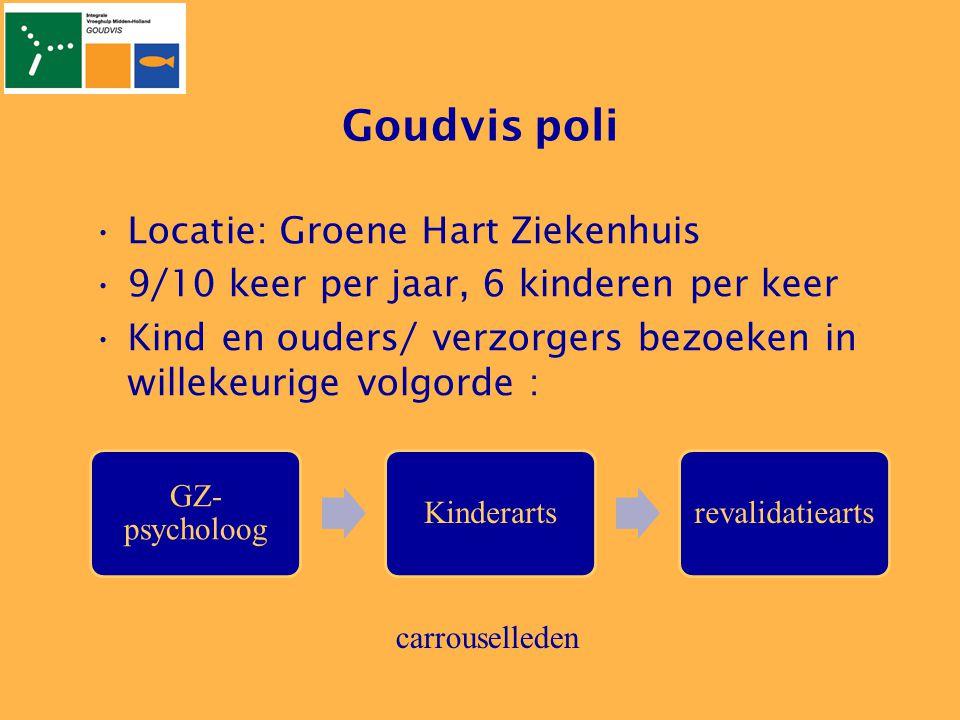 Goudvis poli •Locatie: Groene Hart Ziekenhuis •9/10 keer per jaar, 6 kinderen per keer •Kind en ouders/ verzorgers bezoeken in willekeurige volgorde :