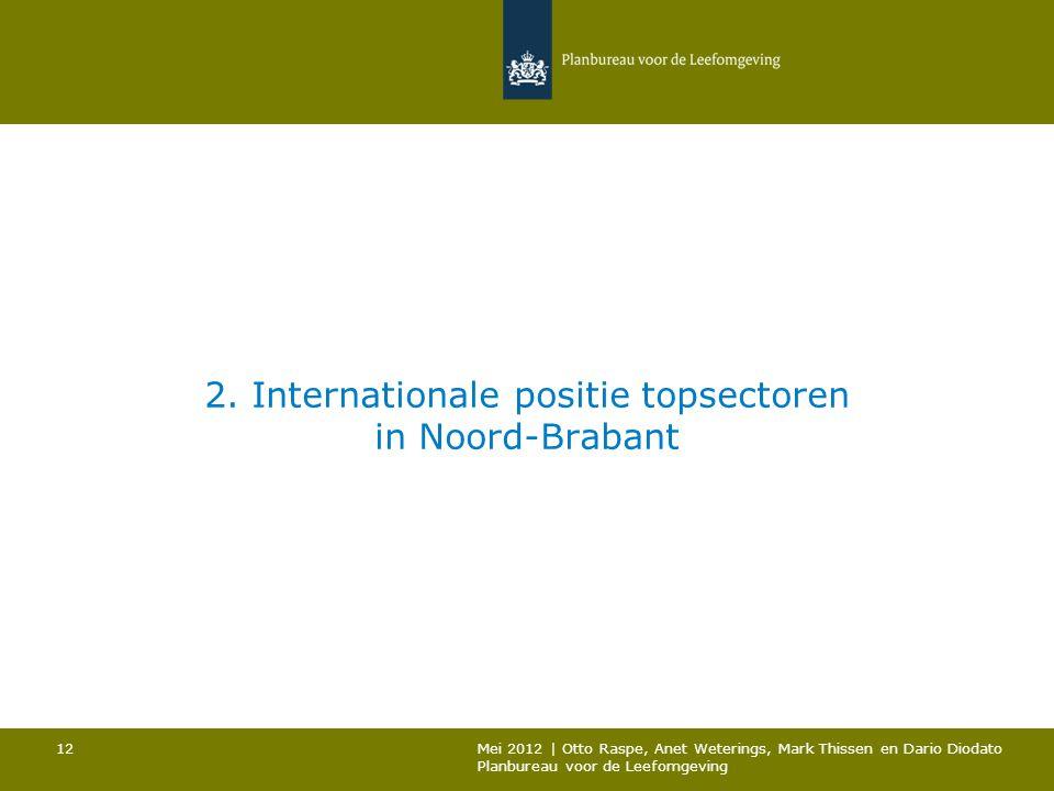 2. Internationale positie topsectoren in Noord-Brabant Mei 2012 | Otto Raspe, Anet Weterings, Mark Thissen en Dario Diodato Planbureau voor de Leefomg