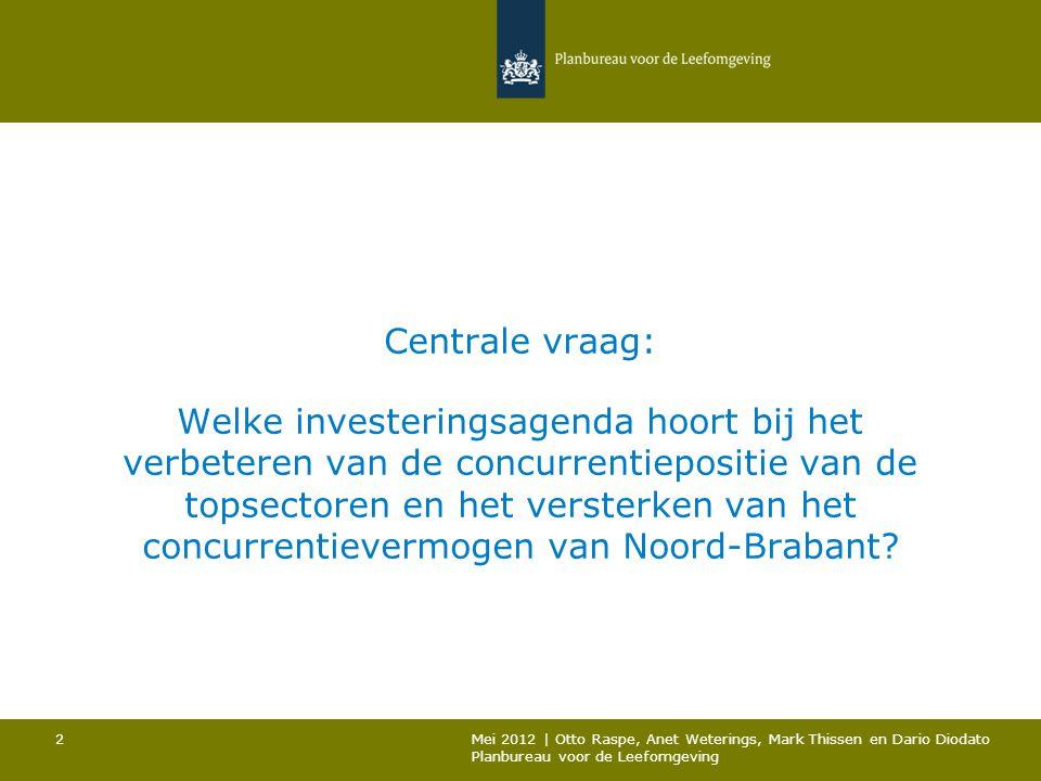 Centrale vraag: Welke investeringsagenda hoort bij het verbeteren van de concurrentiepositie van de topsectoren en het versterken van het concurrentievermogen van Noord-Brabant.
