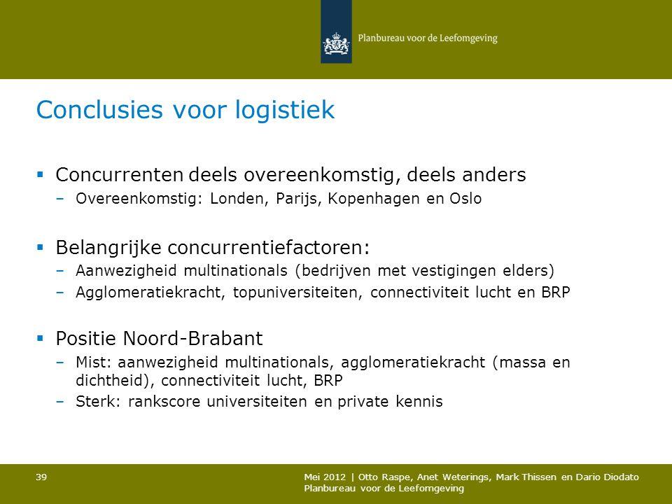 Conclusies voor logistiek  Concurrenten deels overeenkomstig, deels anders –Overeenkomstig: Londen, Parijs, Kopenhagen en Oslo  Belangrijke concurre