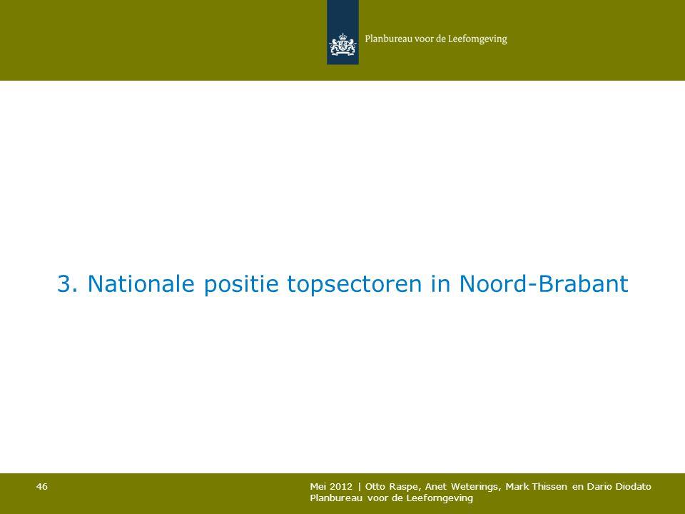 3. Nationale positie topsectoren in Noord-Brabant Mei 2012 | Otto Raspe, Anet Weterings, Mark Thissen en Dario Diodato Planbureau voor de Leefomgeving