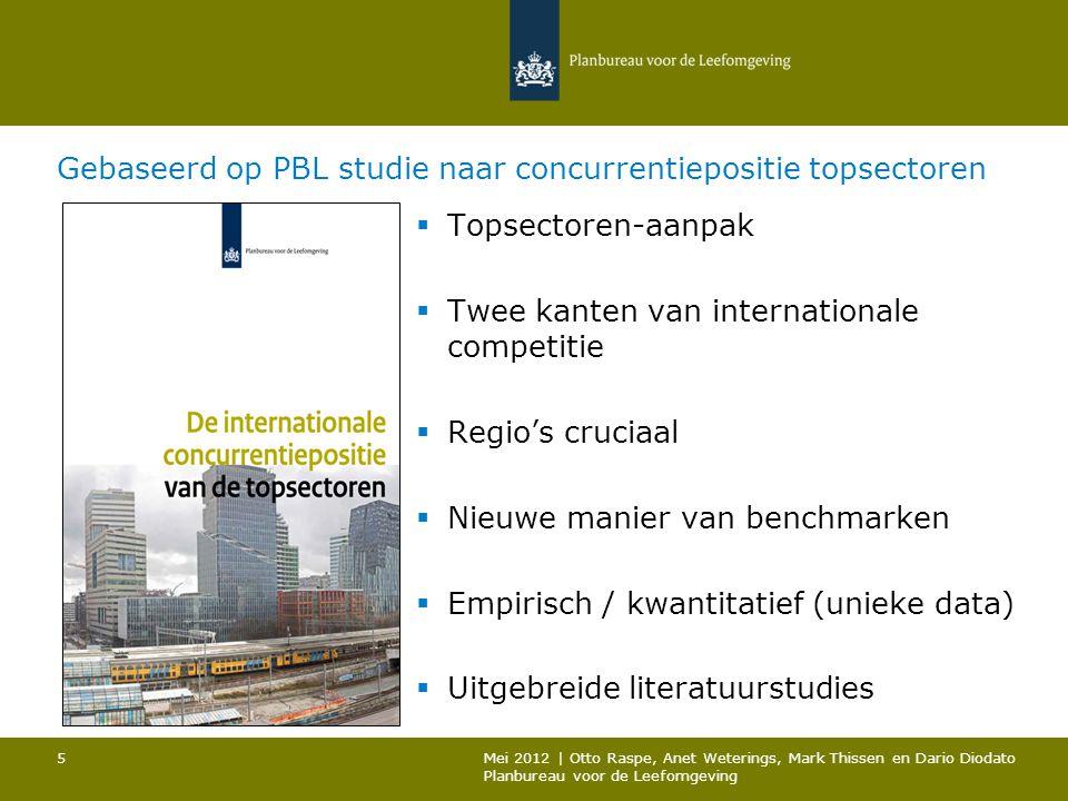 Gebaseerd op PBL studie naar concurrentiepositie topsectoren  Topsectoren-aanpak  Twee kanten van internationale competitie  Regio's cruciaal  Nie