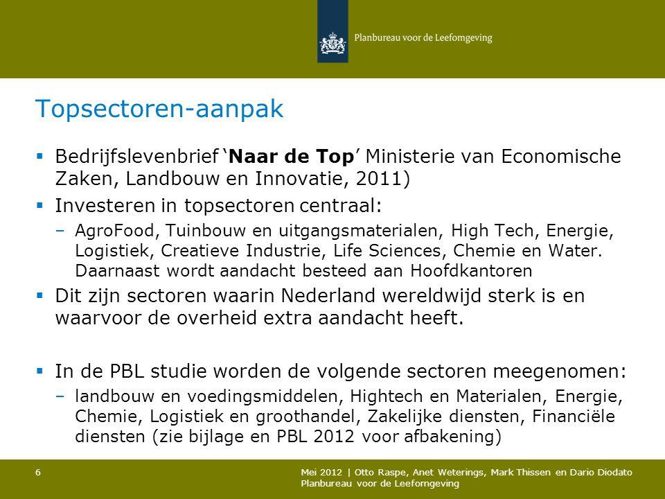Topsectoren-aanpak  Bedrijfslevenbrief 'Naar de Top' Ministerie van Economische Zaken, Landbouw en Innovatie, 2011)  Investeren in topsectoren centr