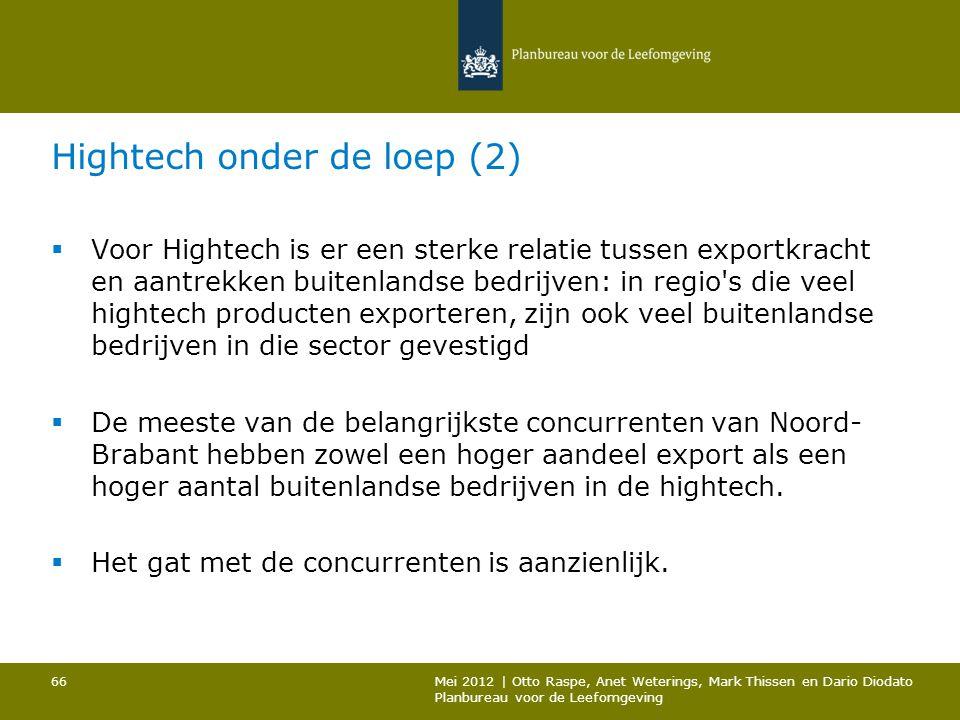 Hightech onder de loep (2)  Voor Hightech is er een sterke relatie tussen exportkracht en aantrekken buitenlandse bedrijven: in regio's die veel high