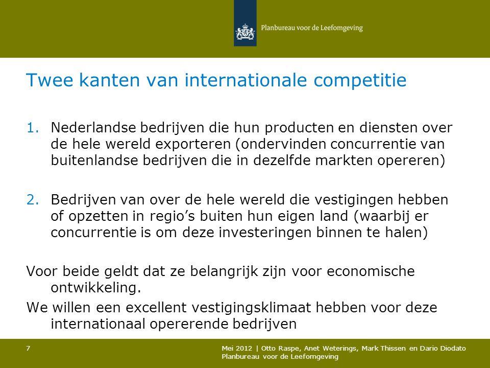 Twee kanten van internationale competitie 1.Nederlandse bedrijven die hun producten en diensten over de hele wereld exporteren (ondervinden concurrent
