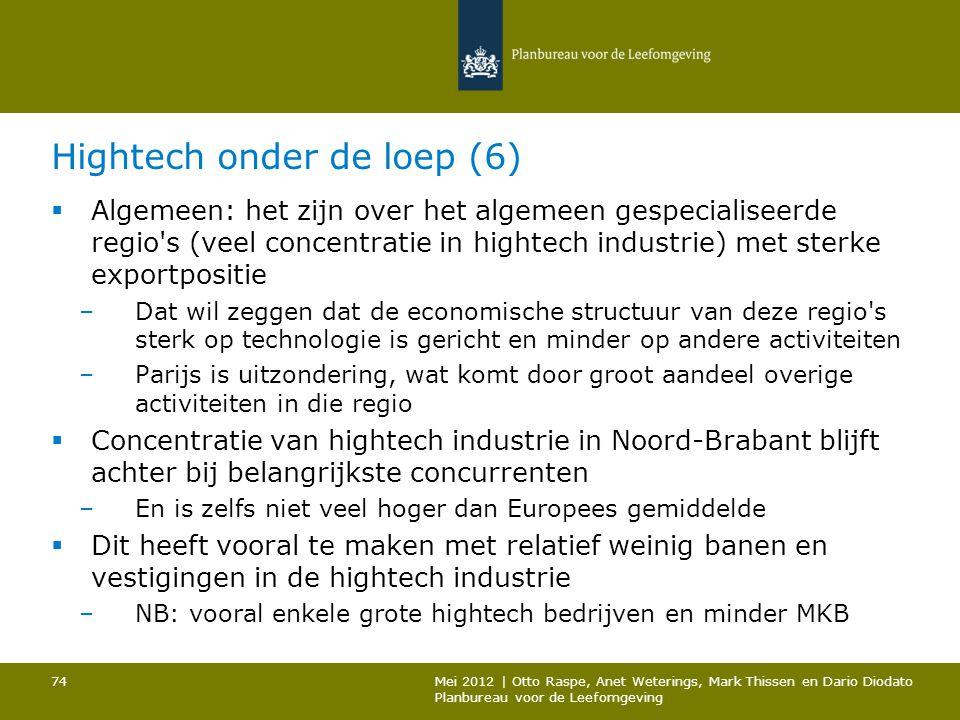 Hightech onder de loep (6)  Algemeen: het zijn over het algemeen gespecialiseerde regio's (veel concentratie in hightech industrie) met sterke export