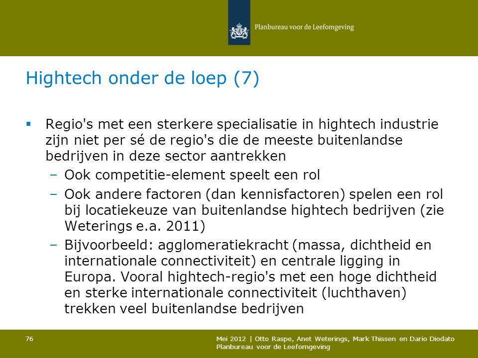 Hightech onder de loep (7)  Regio's met een sterkere specialisatie in hightech industrie zijn niet per sé de regio's die de meeste buitenlandse bedri