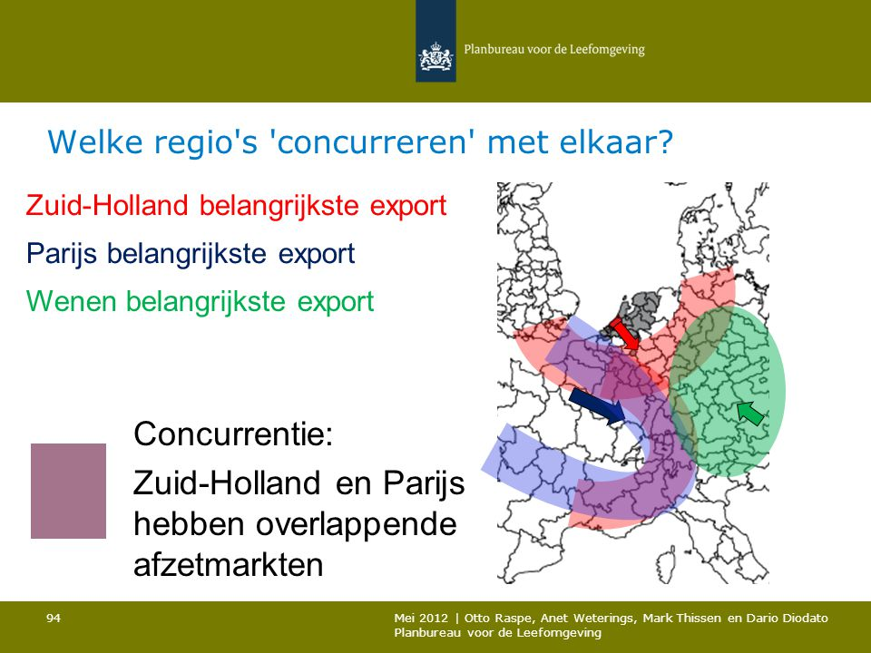 Welke regio's 'concurreren' met elkaar? Zuid-Holland belangrijkste export Parijs belangrijkste export Wenen belangrijkste export Concurrentie: Zuid-Ho