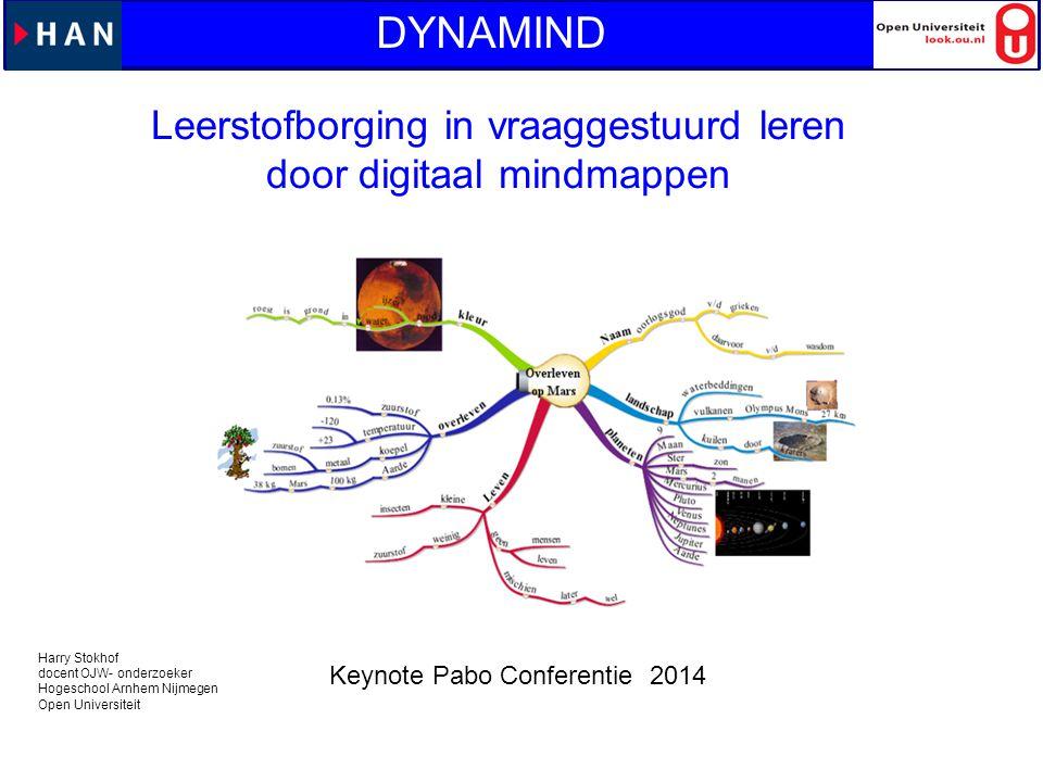 Leerstofborging in vraaggestuurd leren door digitaal mindmappen DYNAMIND Harry Stokhof docent OJW- onderzoeker Hogeschool Arnhem Nijmegen Open Univers