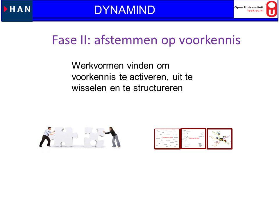 Fase II: afstemmen op voorkennis Werkvormen vinden om voorkennis te activeren, uit te wisselen en te structureren Lanteerne: Vraaggestuurd leren en WO