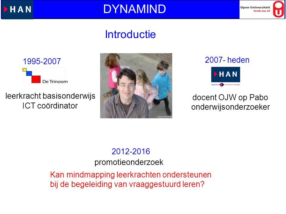 Introductie DYNAMIND Harry Stokhof leerkracht basisonderwijs docent OJW op Pabo onderwijsonderzoeker ICT coördinator promotieonderzoek Kan mindmapping