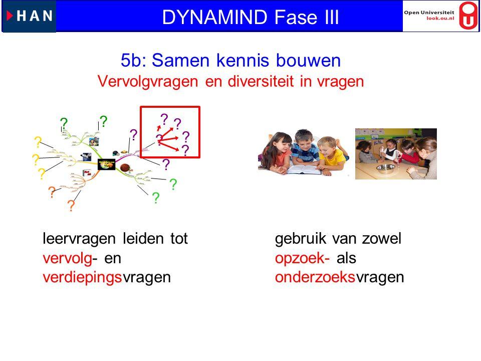 ? ? ? ? ? ? ? ? ? ? ? ? ? ? ? ? leervragen leiden tot vervolg- en verdiepingsvragen gebruik van zowel opzoek- als onderzoeksvragen 5b: Samen kennis bo