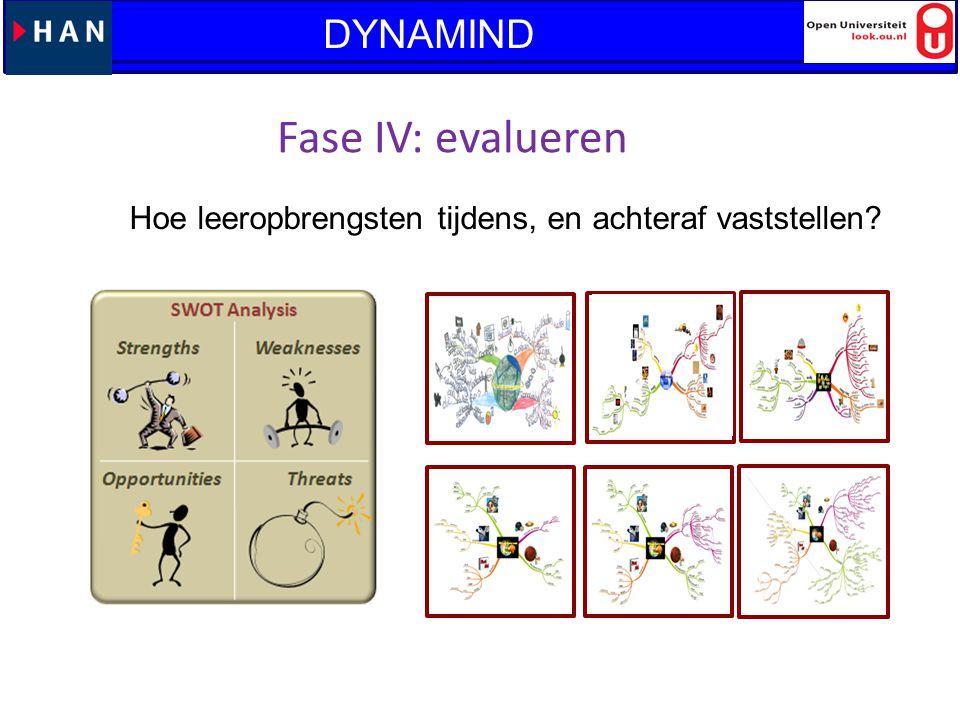 Lanteerne: Vraaggestuurd leren en WO 2013-2014 Fase IV: evalueren Hoe leeropbrengsten tijdens, en achteraf vaststellen? DYNAMIND
