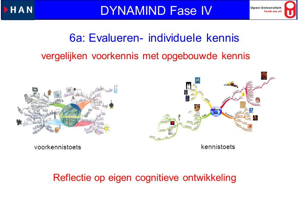 6a: Evalueren- individuele kennis vergelijken voorkennis met opgebouwde kennis voorkennistoets kennistoets Reflectie op eigen cognitieve ontwikkeling