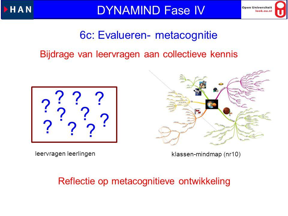 ? ? ? ? ? ? ? ? ? ? 6c: Evalueren- metacognitie Bijdrage van leervragen aan collectieve kennis leervragen leerlingen klassen-mindmap (nr10) Reflectie
