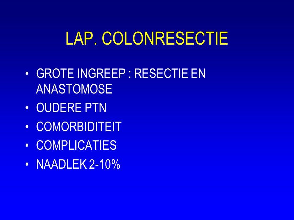 LAP. COLONRESECTIE •GROTE INGREEP : RESECTIE EN ANASTOMOSE •OUDERE PTN •COMORBIDITEIT •COMPLICATIES •NAADLEK 2-10%