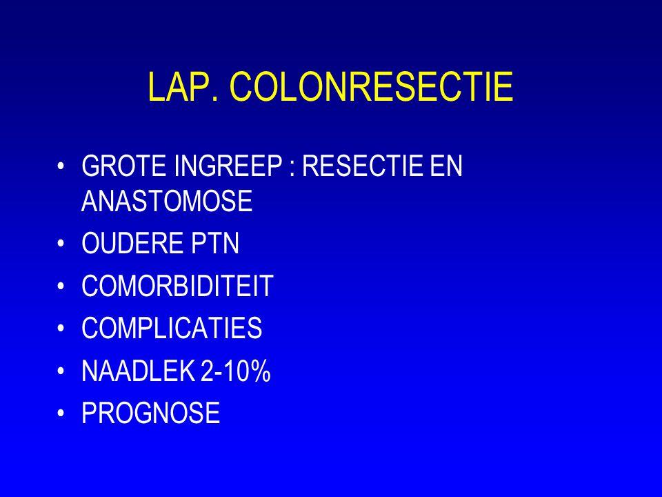 LAP. COLONRESECTIE •GROTE INGREEP : RESECTIE EN ANASTOMOSE •OUDERE PTN •COMORBIDITEIT •COMPLICATIES •NAADLEK 2-10% •PROGNOSE