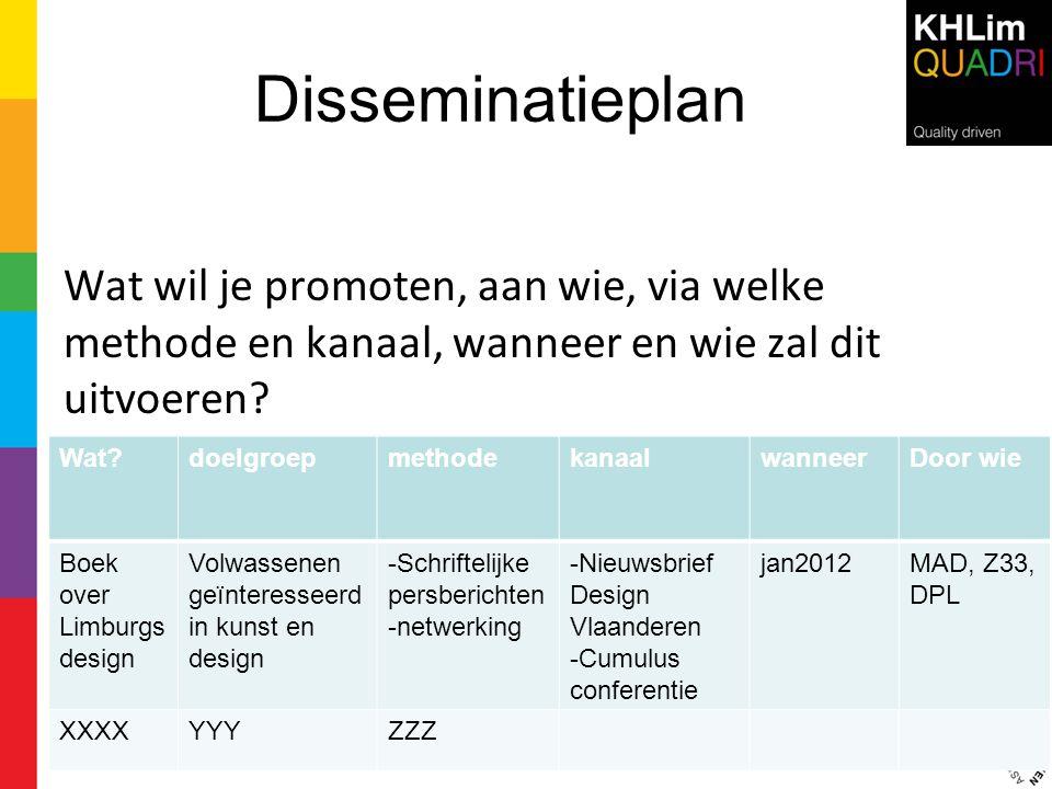 Disseminatieplan Wat wil je promoten, aan wie, via welke methode en kanaal, wanneer en wie zal dit uitvoeren? 19 Wat?doelgroepmethodekanaalwanneerDoor