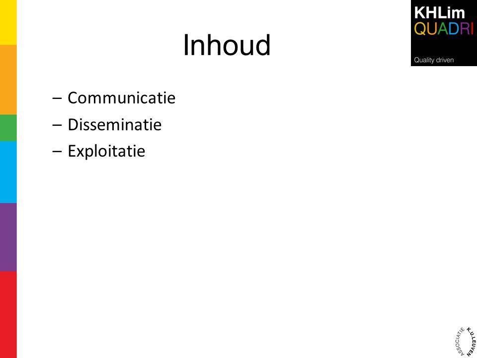 Inhoud –Communicatie –Disseminatie –Exploitatie