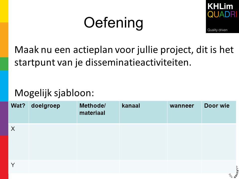 Oefening Maak nu een actieplan voor jullie project, dit is het startpunt van je disseminatieactiviteiten. Mogelijk sjabloon: Wat?doelgroepMethode/ mat