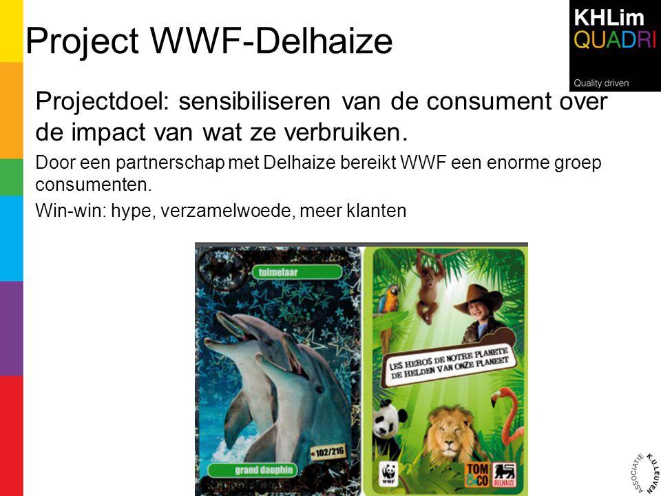 Project WWF-Delhaize Projectdoel: sensibiliseren van de consument over de impact van wat ze verbruiken. Door een partnerschap met Delhaize bereikt WWF