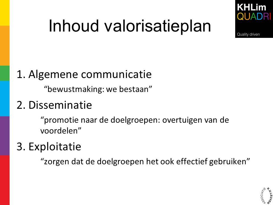 """Inhoud valorisatieplan 1. Algemene communicatie """"bewustmaking: we bestaan"""" 2. Disseminatie """"promotie naar de doelgroepen: overtuigen van de voordelen"""""""