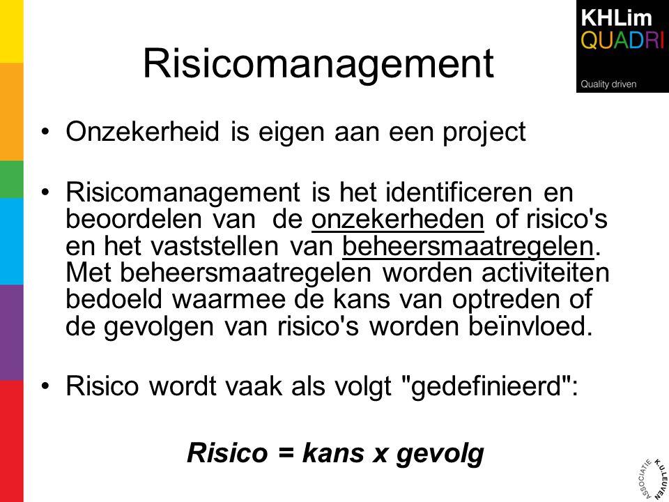 Risicomanagement •Onzekerheid is eigen aan een project •Risicomanagement is het identificeren en beoordelen van de onzekerheden of risico's en het vas