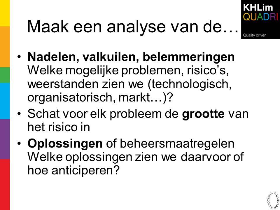 Maak een analyse van de… •Nadelen, valkuilen, belemmeringen Welke mogelijke problemen, risico's, weerstanden zien we (technologisch, organisatorisch,