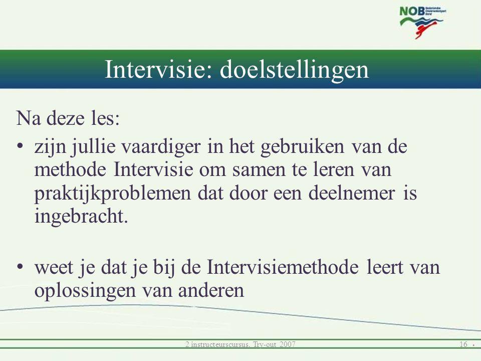 Intervisie: doelstellingen Na deze les: • zijn jullie vaardiger in het gebruiken van de methode Intervisie om samen te leren van praktijkproblemen dat