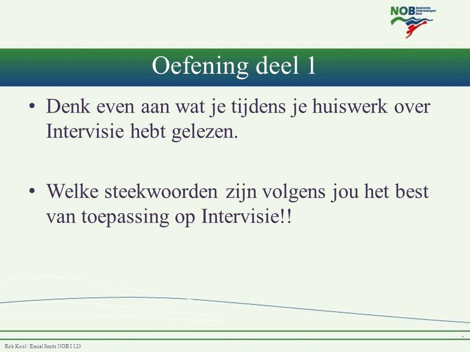 Rob Kool / Emiel Smits NOB I 120 Oefening deel 1 • Denk even aan wat je tijdens je huiswerk over Intervisie hebt gelezen. • Welke steekwoorden zijn vo