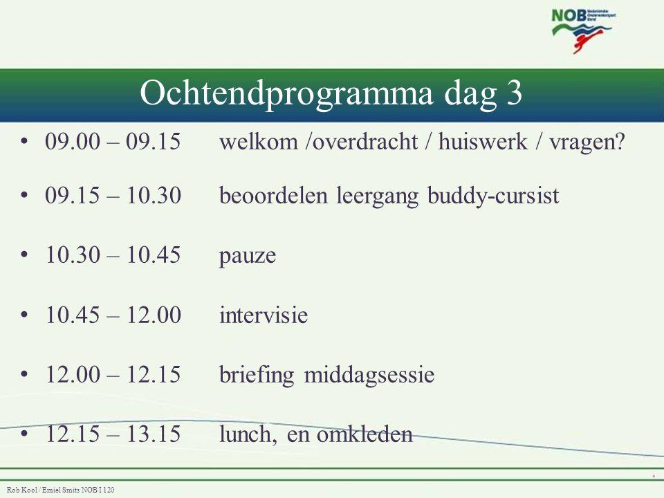Rob Kool / Emiel Smits NOB I 120 Middagprogramma dag 3 • Na de lunch: 3/4 x beoordelen competenties • 14.30 – 15.30 nabespreken met groep en IT • 15.30 – 16.00evaluatie, hoe verder & afsluiting