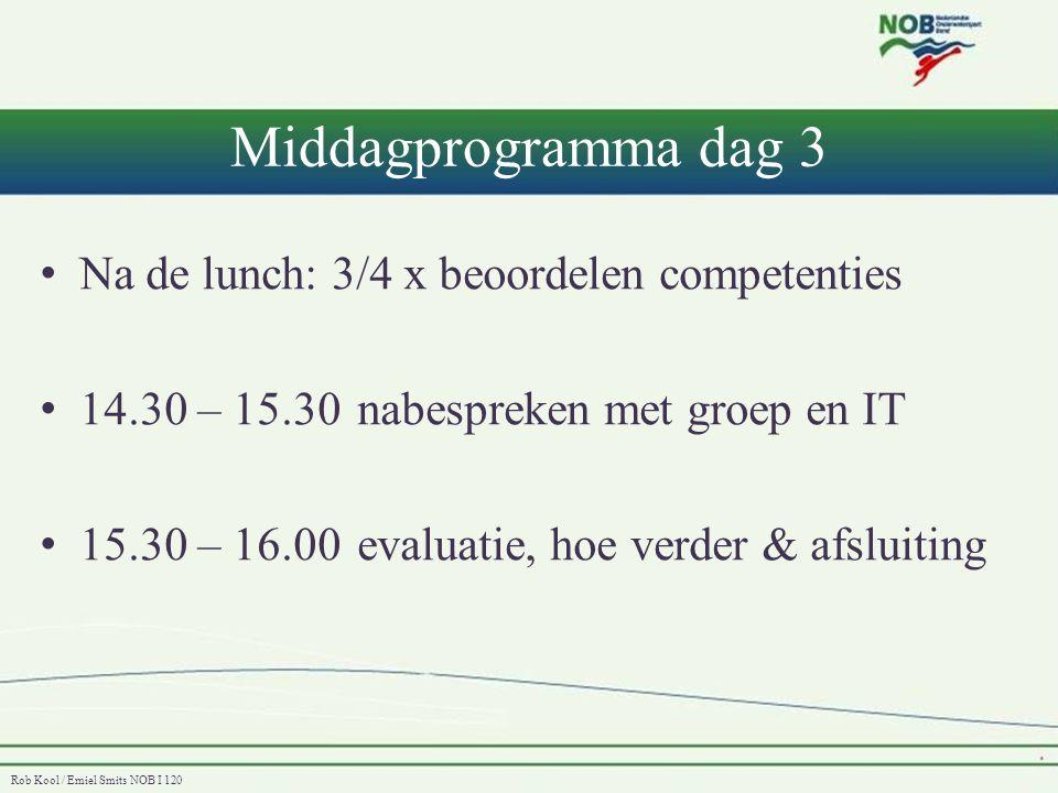 Rob Kool / Emiel Smits NOB I 120 Middagprogramma dag 3 • Na de lunch: 3/4 x beoordelen competenties • 14.30 – 15.30 nabespreken met groep en IT • 15.3