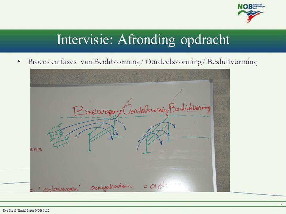 Rob Kool / Emiel Smits NOB I 120 Intervisie: Afronding opdracht • Proces en fases van Beeldvorming / Oordeelsvorming / Besluitvorming