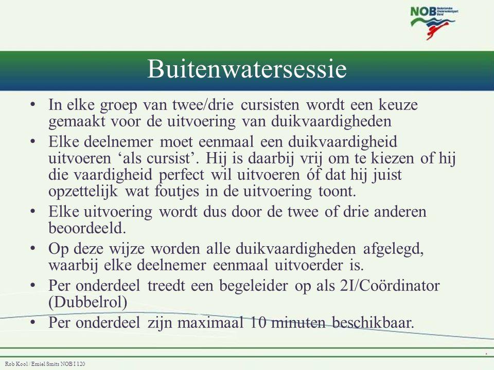 Rob Kool / Emiel Smits NOB I 120 Buitenwatersessie • In elke groep van twee/drie cursisten wordt een keuze gemaakt voor de uitvoering van duikvaardigh