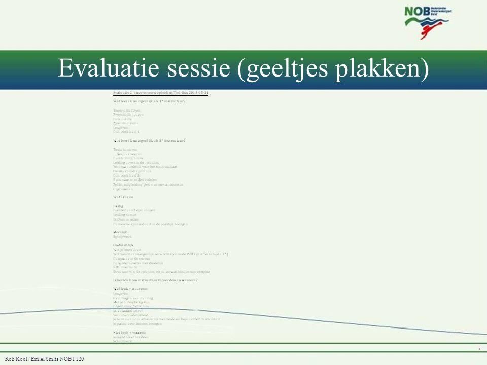 Rob Kool / Emiel Smits NOB I 120 Evaluatie sessie (geeltjes plakken)