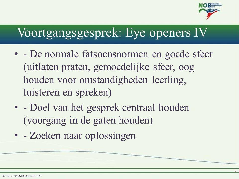 Rob Kool / Emiel Smits NOB I 120 Voortgangsgesprek: Eye openers IV • - De normale fatsoensnormen en goede sfeer (uitlaten praten, gemoedelijke sfeer,