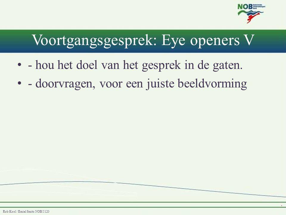 Rob Kool / Emiel Smits NOB I 120 Voortgangsgesprek: Eye openers VI De belangrijke conclusies van het voortganggesprek: • Het is een gesprek op gelijkwaardig niveau.
