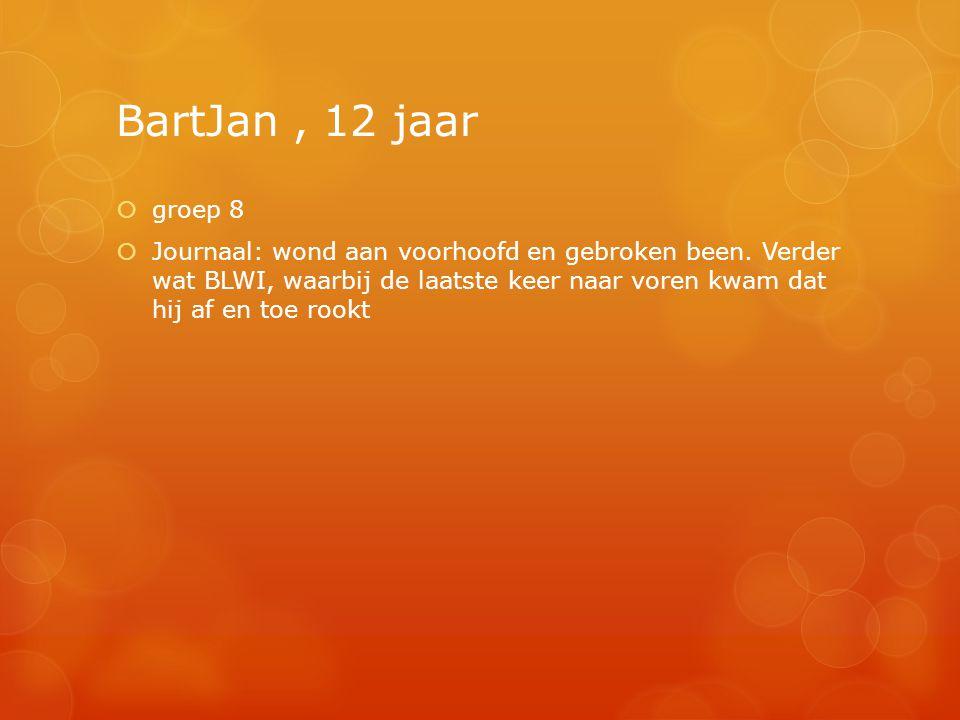 BartJan, 12 jaar  groep 8  Journaal: wond aan voorhoofd en gebroken been. Verder wat BLWI, waarbij de laatste keer naar voren kwam dat hij af en toe