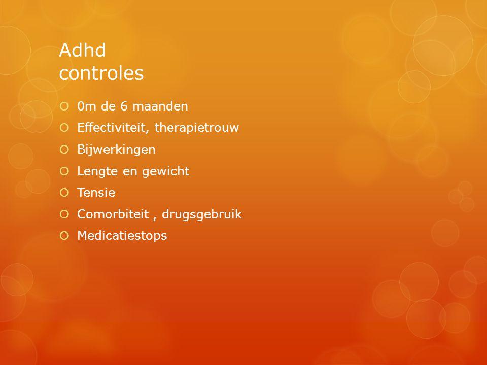 Adhd controles  0m de 6 maanden  Effectiviteit, therapietrouw  Bijwerkingen  Lengte en gewicht  Tensie  Comorbiteit, drugsgebruik  Medicatiesto