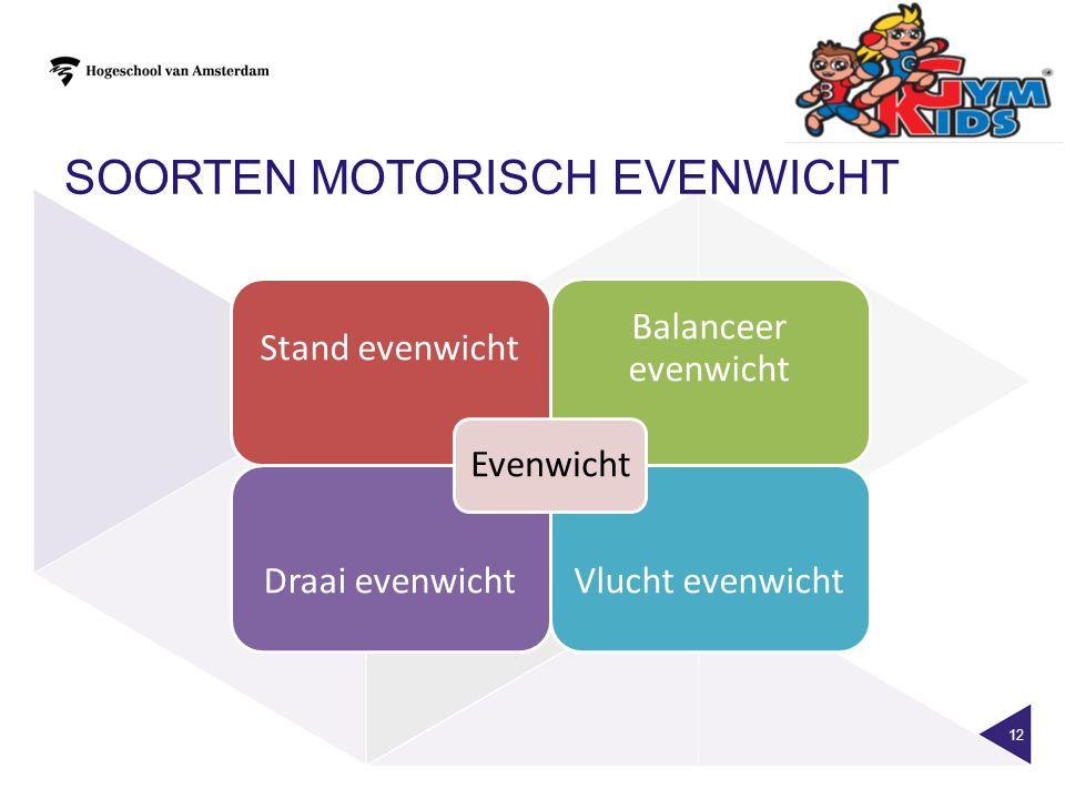 SOORTEN MOTORISCH EVENWICHT 12 Stand evenwicht Balanceer evenwicht Draai evenwicht Vlucht evenwicht Evenwicht