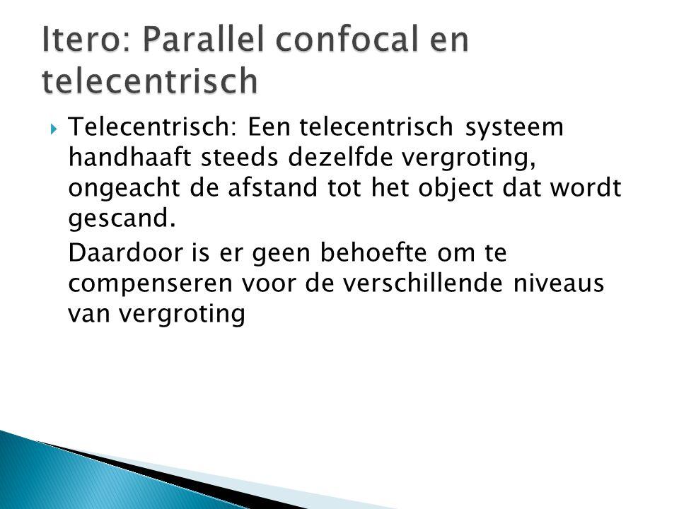  Telecentrisch: Een telecentrisch systeem handhaaft steeds dezelfde vergroting, ongeacht de afstand tot het object dat wordt gescand. Daardoor is er