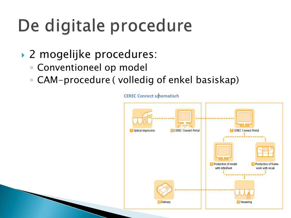  2 mogelijke procedures: ◦ Conventioneel op model ◦ CAM-procedure ( volledig of enkel basiskap)