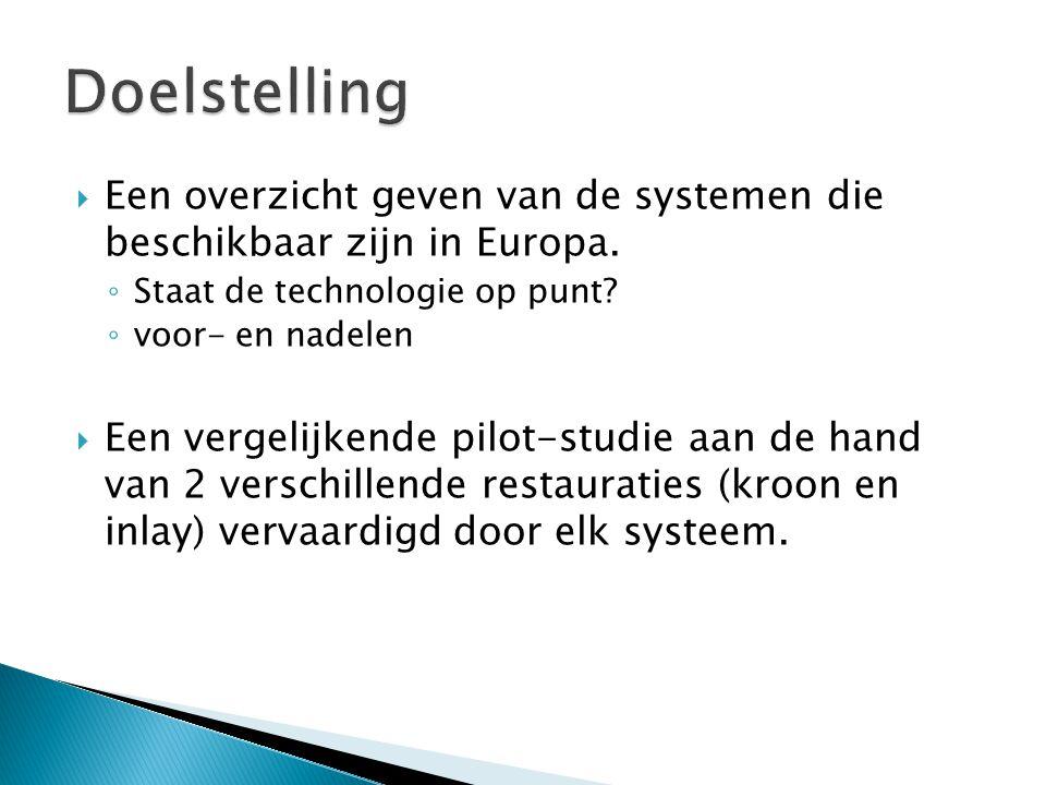  Een overzicht geven van de systemen die beschikbaar zijn in Europa. ◦ Staat de technologie op punt? ◦ voor- en nadelen  Een vergelijkende pilot-stu
